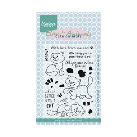 EC0172 ~ Eline's Kittens  ~ Eline's Animals ~ Marianne Designs Clear stamp